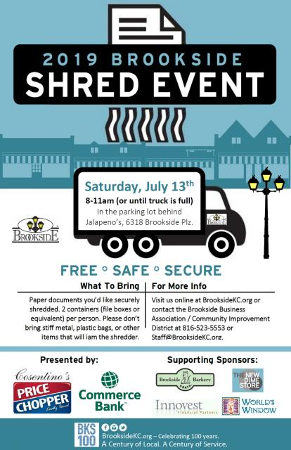 Free paper shredding this Saturday, July 13th at the 2019 Brookside