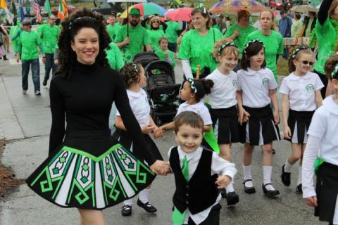 Brookside St. Pat's Warm-Up Parade Irish dancers